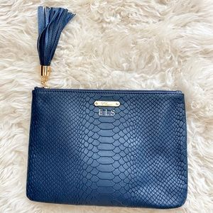 Gigi New York All In One Navy Embossed Leather Bag
